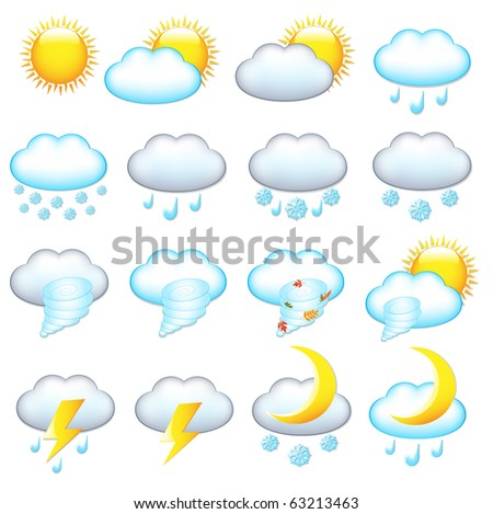 16 Weather Icons, Isolated On White Background, Vector Illustration