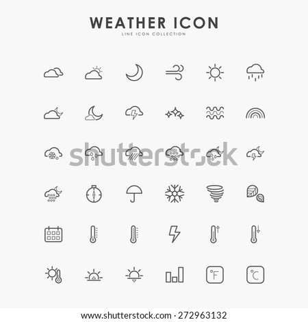 36 weather minimal line icons - stock vector
