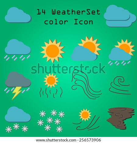 14 weather vector color icon
