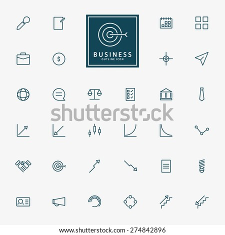 32 web and business minimal outline icons vector