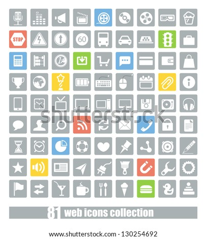 81 Web application icons collection - stock vector