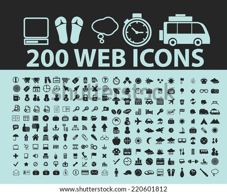200 web black icons, signs, illustrations, silhouettes set, vector on blue background - stock vector