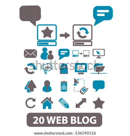 20 web blog, internet site icons, signs vector