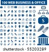 100 web business and office signs. vector - stock vector