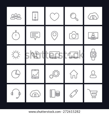 25 web, business, commerce, line square icons, vector illustration, eps10, easy to edit - stock vector