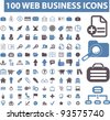 100 web business icons set, vector - stock photo