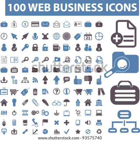 100 web business icons set, vector - stock vector