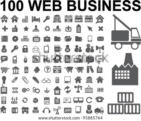 100 web business icons set,vector - stock vector