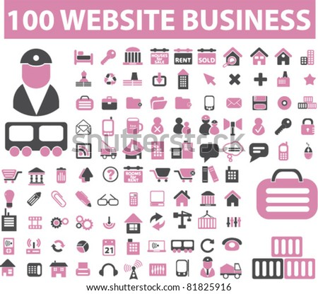 100 web business icons, signs, vector illustrations - stock vector