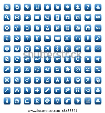 100 web, business, media and leisure icons set. Blue vector buttons. - stock vector