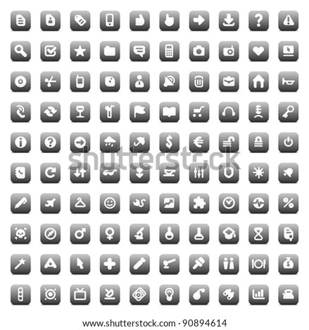 100 web, business, media and leisure icons set. Gray vector buttons. - stock vector