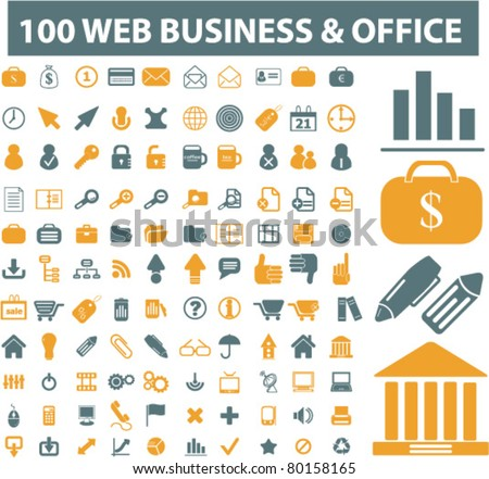 100 web, business, office icons, signs, vector illustrations - stock vector