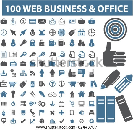 100 web business & office icons, signs, vector illustrations - stock vector
