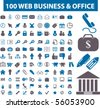 100 web business & office signs. vector - stock vector
