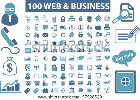100 web & business signs. vector - stock vector