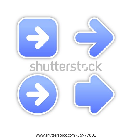 4 web 2.0 button stickers arrow sign. Smooth blue shapes with shadow on white background. 10 eps - stock vector