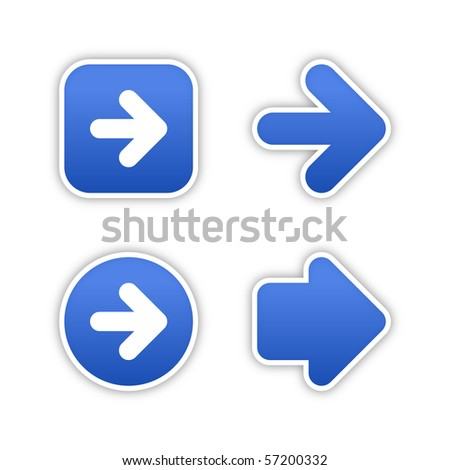 4 web 2.0 button stickers arrow sign. Smooth cobalt shapes with shadow on white background. 10 eps - stock vector