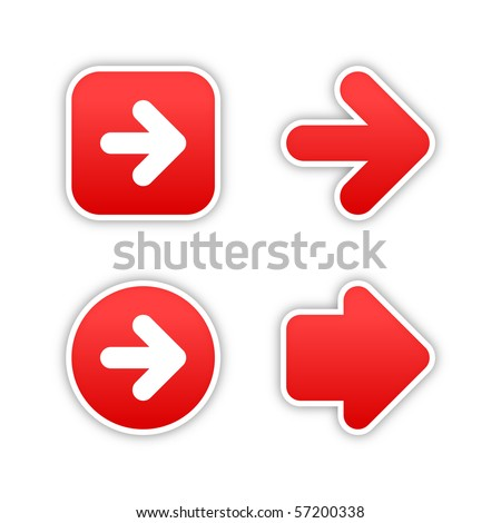 4 web 2.0 button stickers arrow sign. Smooth red shapes with shadow on white background. 10 eps - stock vector