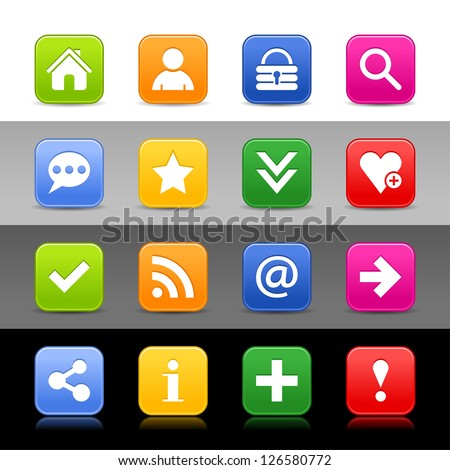 16 web button with basic sign. Satin series icon. Rounded square shapes with shadow, reflection. Green, orange, blue, yellow, red color on white, black, gray backgrounds. Vector illustration 8 eps - stock vector