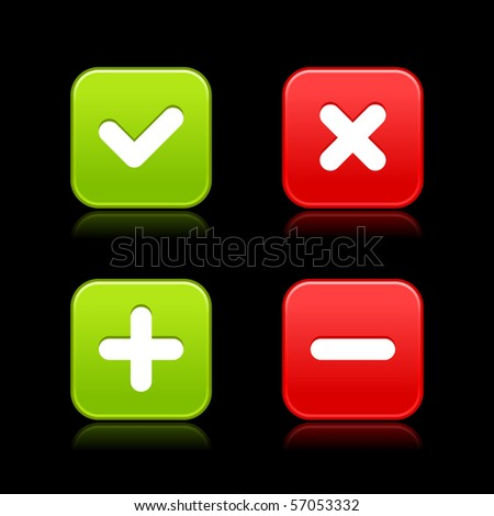 4 web 2.0 buttons of validation icons. Colorful satin shapes with reflection on black background - stock vector