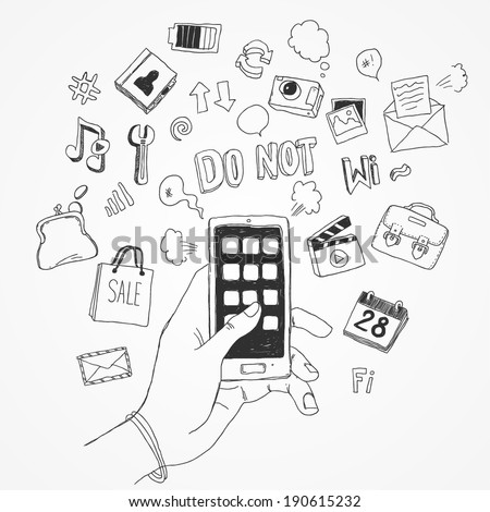 Web / Computer Doodles Icon Set,  hand holds smart phone - stock vector