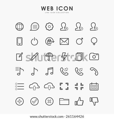 36 web icon on line icon flat design concept - stock vector