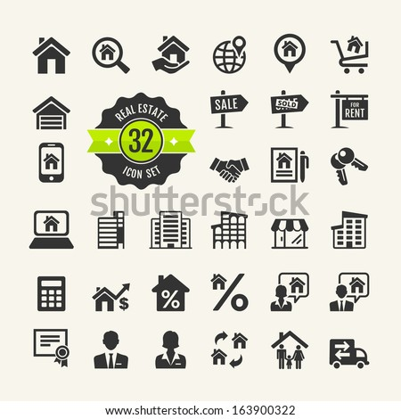 Web icon set.  Real Estate, property, realtor  - stock vector