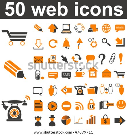 50 Web Icons Set - stock vector
