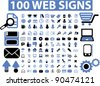 100 web icons set, signs, vector illustrations - stock vector
