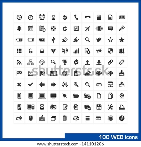 100 web icons set. Vector pictograms for web, internet, mobile, computer interface design: battery, bookmarks, PC, notebook, phone, clock, devices, social communications, widgets, settings symbols. - stock vector