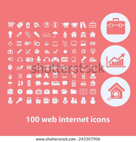 100 web internet icons, signs, symbols, illustrations set on background, vector
