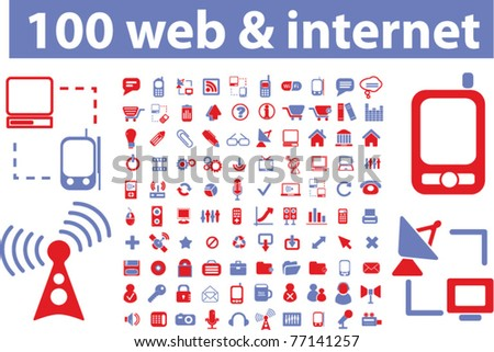 100 web & internet icons, signs, vector illustrations - stock vector