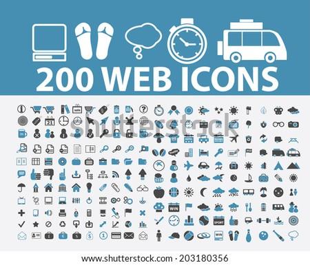 200 web, internet marketing icons, signs, symbols set, vector - stock vector
