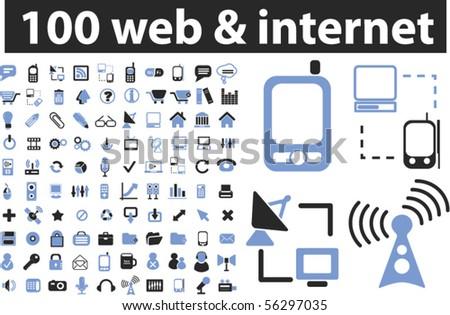 100 web & internet signs. vector - stock vector