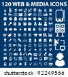 120 web media icons set, vector illustrations - stock vector