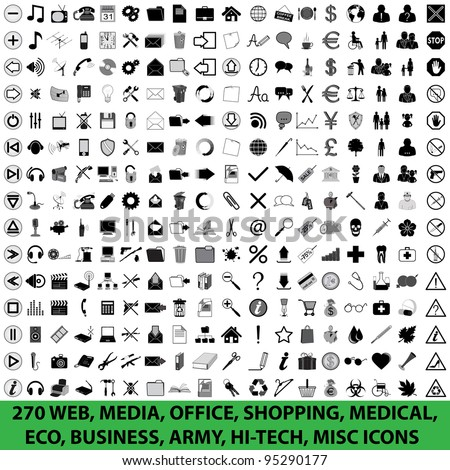 270 WEB, MEDIA, OFFICE, SHOPPING, MEDICAL, ECO, BUSINESS, ARMY, HI-TECH, MISC ICONS - stock vector