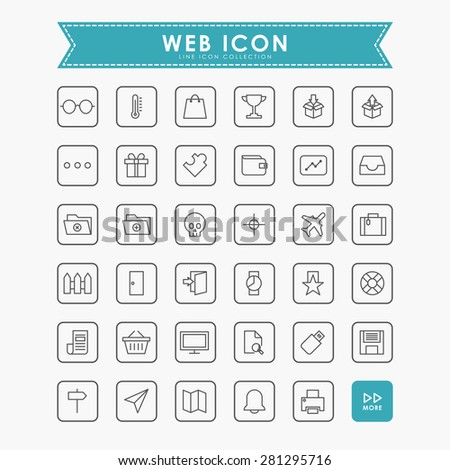 35 web minimal outline icons - stock vector