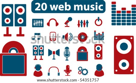 20 web music signs. vector