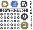 30 web office circle buttons set, vector - stock vector