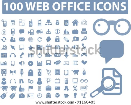 100 web office icons set, vector illustration - stock vector