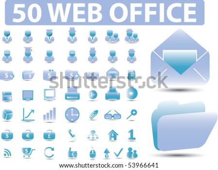 50 web office signs. vector - stock vector