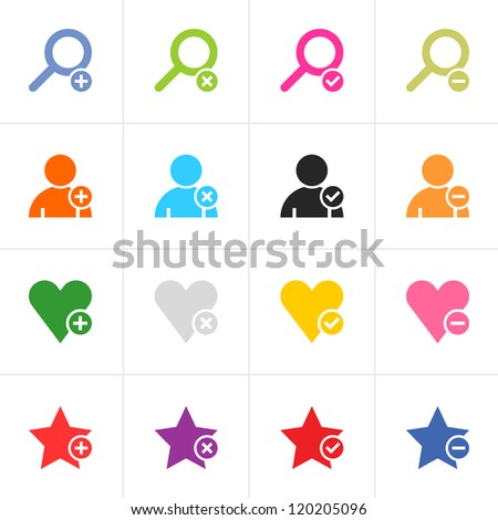 16 web pictogram set. Loupe, user, star, heart with plus, delete, check mark, minus sign. Simple color icon on white. Modern solid plain flat minimal style. Vector illustration design elements 8 eps - stock vector