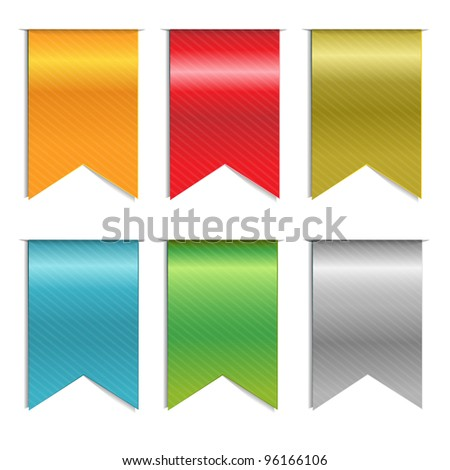 6 Web Ribbons, Isolated On White Background, Vector Background - stock vector