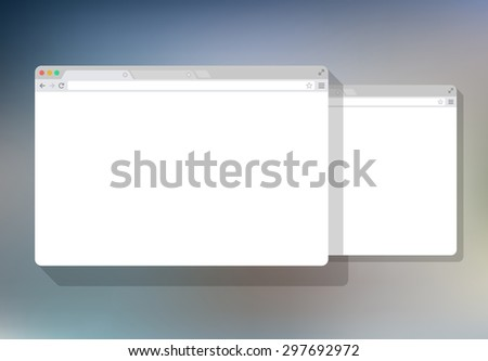 2 web simple set of Browser window white, color background, flat - stock vector