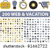 200 web & vacation icons, signs, vector illustrations - stock vector