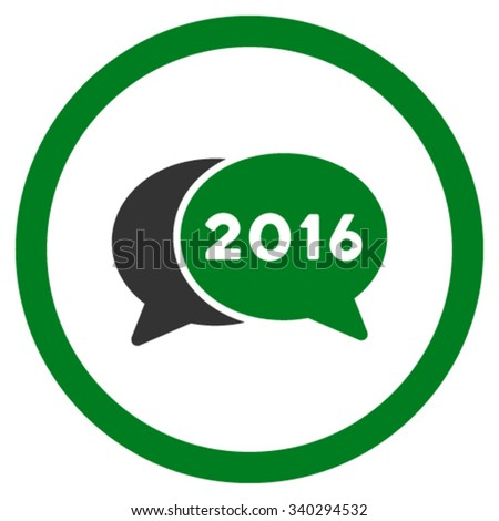 2016 Webinar vector icon. Style is bicolor flat circled symbol, green and gray colors, rounded angles, white background. - stock vector