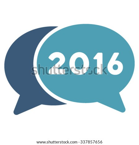 2016 Webinar vector icon. Style is bicolor flat symbol, cyan and blue colors, rounded angles, white background. - stock vector