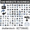 100 website business icons, signs, vector illustrations - stock vector