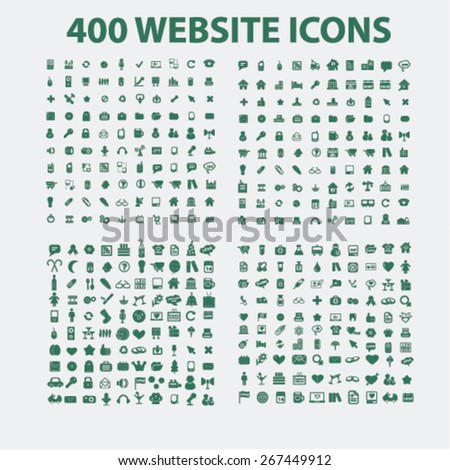 400 website, business, management, holidays, isolated icons, signs, illustrations concept design set, vector - stock vector