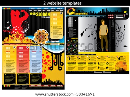 2 website design templates easy to editable